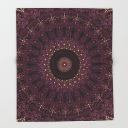 Mandala in dark purple and golden colors Throw Blanket