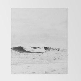Minimalist Black and White Ocean Wave Photograph Throw Blanket