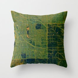 Green Englewood year 1940, us maps Throw Pillow
