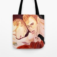 vampire diaries Tote Bags featuring The Vampire Diaries  by Jonboistars
