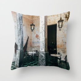 Coffee and frescoes in ex-hacienda in Mexico Throw Pillow