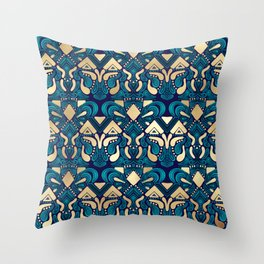Chic Hipster Gold Emerald Blue Tribal Artsy Damask Throw Pillow
