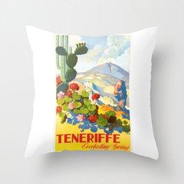 1945 Tenerife Everlasting Spring Spain Travel Poster Throw Pillow