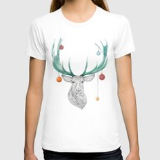 Christmas Deer Womens Fitted Tee MEDIUM White