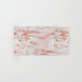 White Marble with Rose Gold Foil Hand & Bath Towel