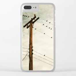 Birds on Wire, Beige Brown Bird on Wires, Neutral Modern Telephone Nature Art Clear iPhone Case