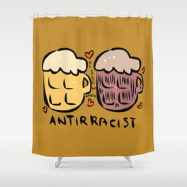 anti racist beer cerveza antiracista for punk skinhead black and white people  Shower Curtain