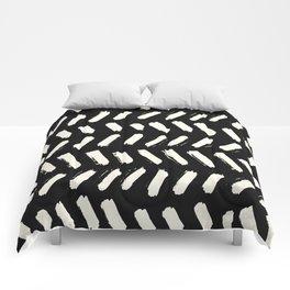 Tribal Dance Dot - Ivory on Black Comforters