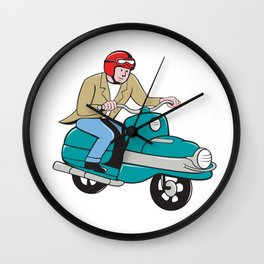 Rider Riding Scooter Isolated Cartoon Wall Clock