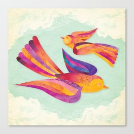 Shanti Sparrow: Daisy and Dawn the Sparrows Canvas Print
