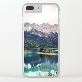 Green Blue Lake and Mountains - Eibsee, Germany Clear iPhone Case