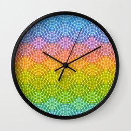 Bright colorful seamless pattern. Rainbow bright lilac pink green purple blue print Wall Clock