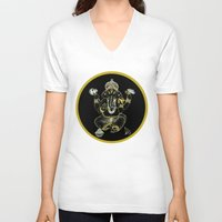 ganesha V-neck T-shirts featuring GANESHA by Dianah B