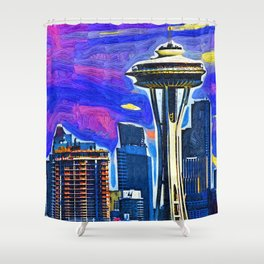 Space Needle Fauvism Style Shower Curtain