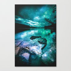 Magical Mountain Lake Mint Green Lavender Canvas Print