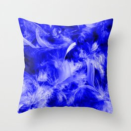 Colorful Feathers,blue Throw Pillow