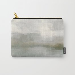 Modern Abstract Painting, Light Teal, Sage Green, Gray Cloudy Weather Digital Prints Wall Art, Ocean Carry-All Pouch