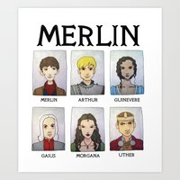 merlin Art Prints featuring MERLIN by Space Bat designs