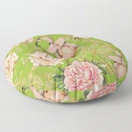 Vintage Green Summer Botanical Colorful Flower Garden Floor Pillow