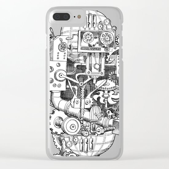 DINNER TIME FOR THE ROBOT Clear iPhone Case