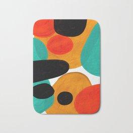 Mid Century Modern Abstract Minimalist Retro Vintage Style Rolie Polie Olie Bubbles Teal Orange Bath Mat