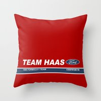 f1 Throw Pillows featuring Haas F1 Team 1986 by Krakenspirit