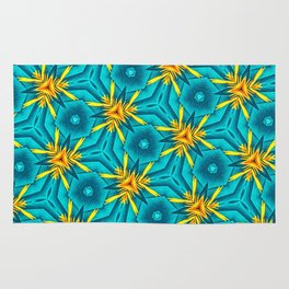 Birds of Paradise Floral Pattern \\ Unique Tropical Vibes \\ Green Yellow Blue Orange Color Scheme Rug