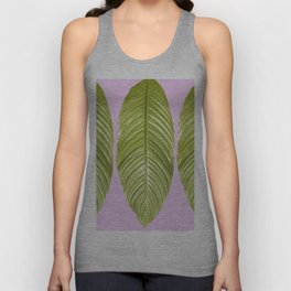 Three large green leaves on a pink background - vivid colors Unisex Tank Top