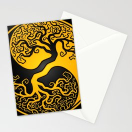 Yellow and Black Tree of Life Yin Yang Stationery Cards