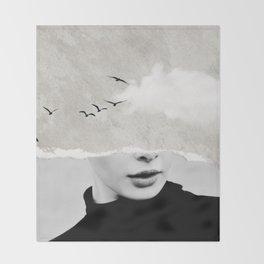 minimal collage /silence Throw Blanket