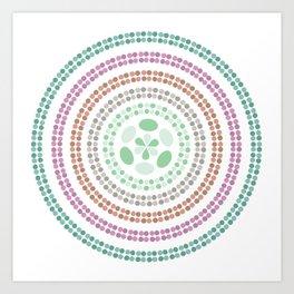Retro floral circle 3 Art Print