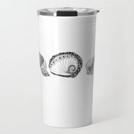 Seashell Doodle Art in Black and White Travel Mug