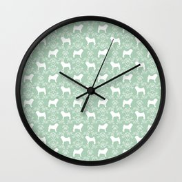 Pug silhouette florals mint pattern for pug dog lover pet pattern gifts Wall Clock