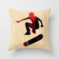 skateboard Throw Pillows featuring Skateboard by marvinblaine