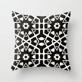MANTRA - black and white minimal painting abstract art brooklyn trendy mandala street city art work Throw Pillow
