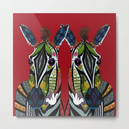 zebra love red Metal Print