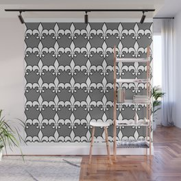 Fleur de lis white on grey Wall Mural