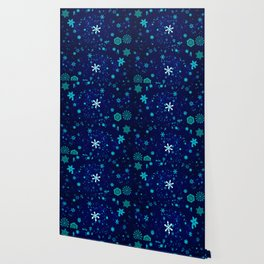Blue Snowflakes Pattern Wallpaper