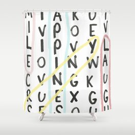 HAPPY FIND-A-WORD Shower Curtain