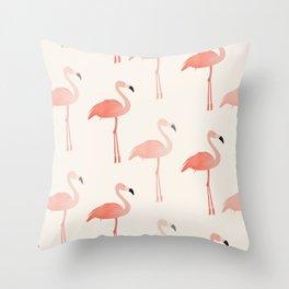 Double Flamingo Throw Pillow