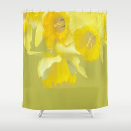Sign of Spring - Yellow Narcissus on Spring Green Background #decor #society6 #buyart Shower Curtain