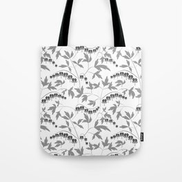 White grey floral pattern Tote Bag