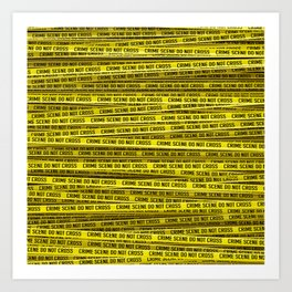 Crime scene / 3D render of endless crime scene tape Art Print