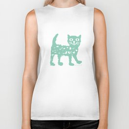 Mint cat drawing, cat drawing Biker Tank