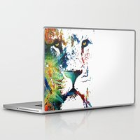 nfl Laptop & iPad Skins featuring Colorful Lion Art By Sharon Cummings by Sharon Cummings