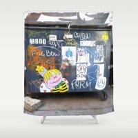 "tina crespo Shower Curtains featuring Tina ""Bumble-Bee"" Tuna and Friends by DARMDARM"