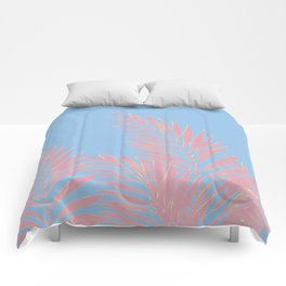 Palm Leaves Pink And Blue Comforters