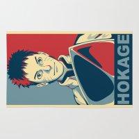 naruto Area & Throw Rugs featuring Naruto - Hokage by KingSora