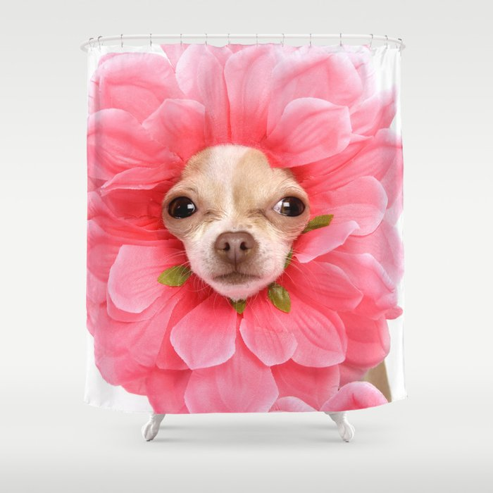 Chihuahua Flower Shower Curtain