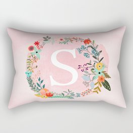 Flower Wreath with Personalized Monogram Initial Letter S on Pink Watercolor Paper Texture Artwork Rectangular Pillow